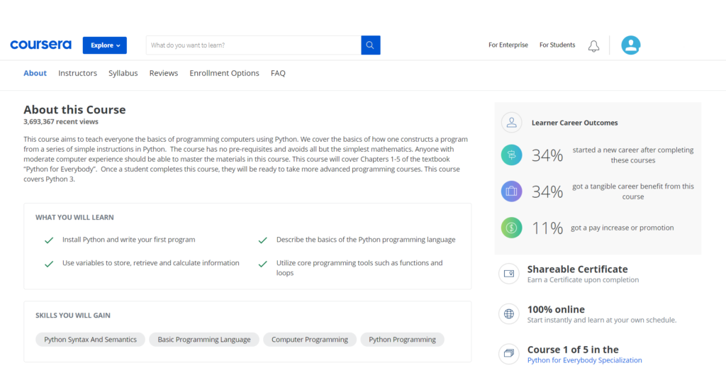 Coursera Course Page